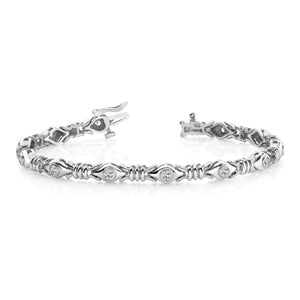 4 Ct Bezel Set Round Diamond X Link Bracelet White Gold 14K Jewelry Tennis Bracelet