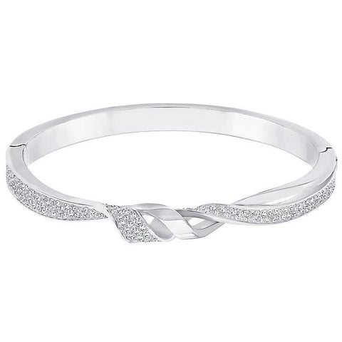 4 Ct Gorgeous Round Brilliant  Diamonds Ladies Bangle Bracelet White Gold Bangle