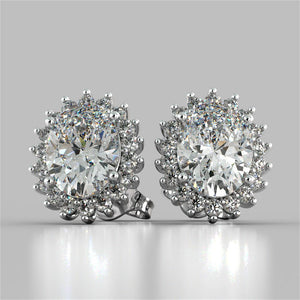 4 Ct. Oval Cut Halo Diamond Stud Earring Diamonds White Gold Halo Stud Earrings
