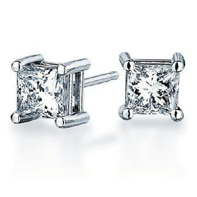 4 Ct Princess Cut Diamond Stud Earring 14K White Gold Stud Earrings