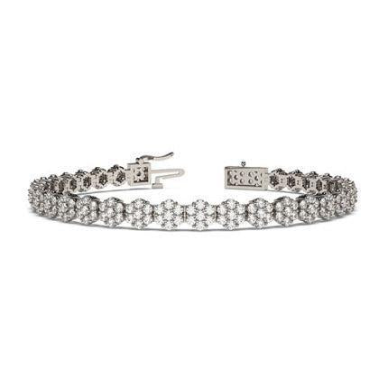 4 Ct Round Shaped Diamond Tennis Bracelet 14K White Gold Jewelry Tennis Bracelet