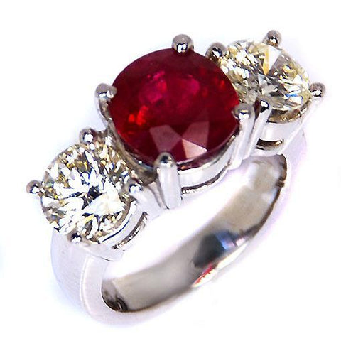 4 Ct Ruby And Round Diamond 3 Stone Ring White Gold Lady Men Jewelry Gemstone Ring