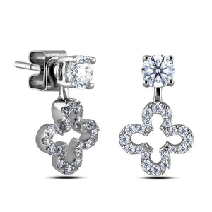 4 Ct Sparkling Round Brilliant Diamonds Lady Studs Drop Earring White Gold Drop Earrings