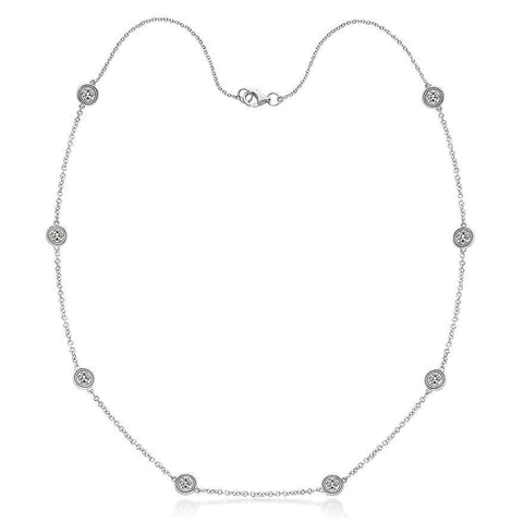 "4 Ct Yard Of Diamonds Women Necklace White Gold 14K 18"" Chain Chains Necklace"