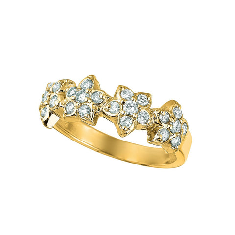 4 Flowers Diamond Fancy Ring 0.63 Carats 14K Yellow Ring