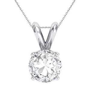 4 Prong Set G Vs2 Sparkling 1.00 Carat Diamond Necklace Pendant Gold White 14K Pendant