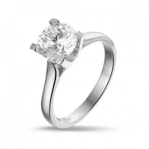 4 Prong Set Solitaire 2 Carat Round Cut Diamond Engagement Ring White Gold Open Prong Style Solitaire Ring