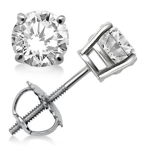4 Prong Set Solitaire Round Diamond Stud Earring Gold 14K 1.5 Ct. Stud Earrings