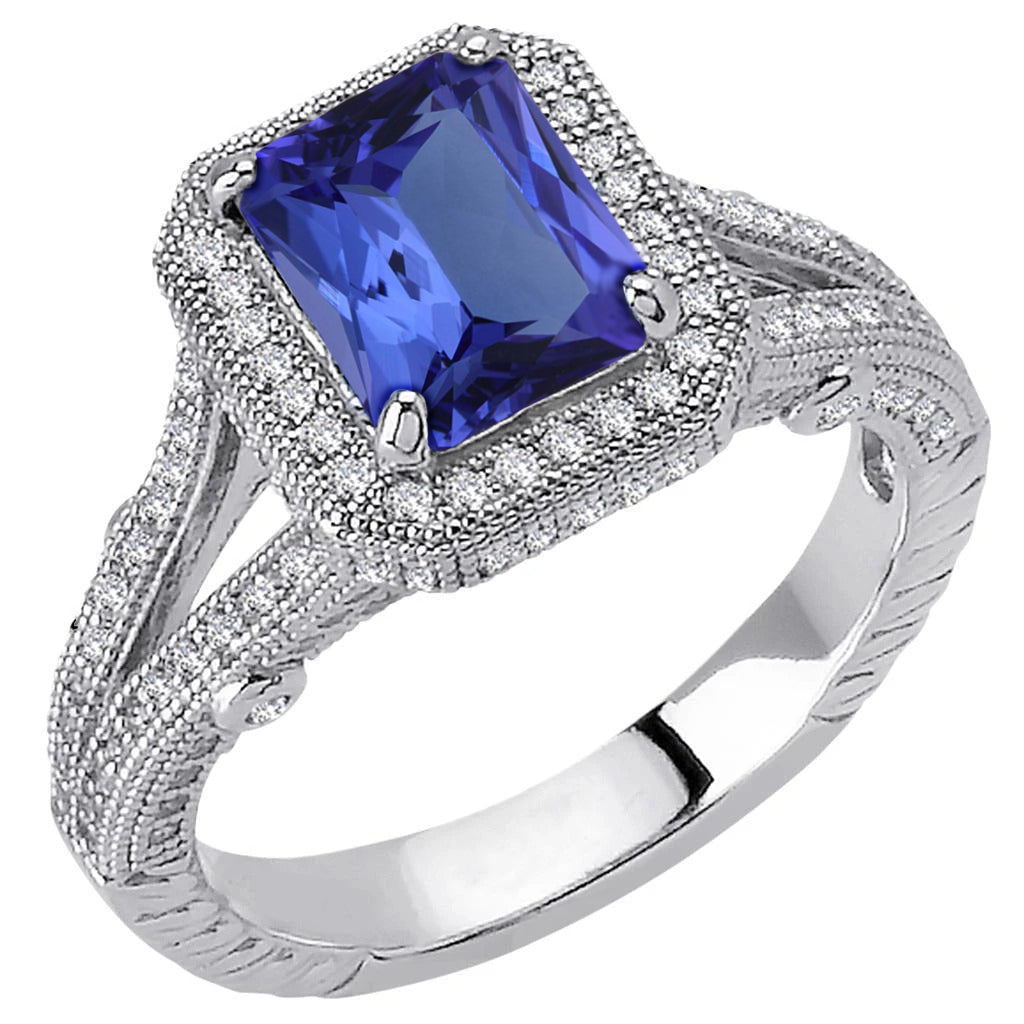 4.51 Carat Diamonds Aaa Tanzanite Antique Style Ring Gold White