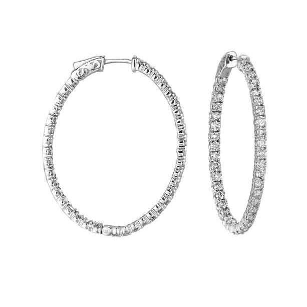 4.00 Carats Brilliant Cut Diamonds Women Hoop Earrings White Gold 14K Hoop Earrings