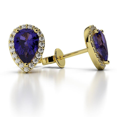 4.00 Carats Pear Tanzanite With Round Diamond Pave Halo Studs Yellow Gold 14K Gemstone Earring