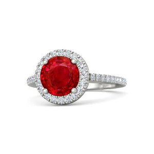 4.00 Carats Prong Set Ruby With Diamonds Ring 14K Gold Gemstone Ring