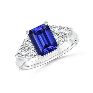 4.00 Ct Emerald Cut Ceylon Blue Sapphire And Round Cut Diamonds Ring Gemstone Ring