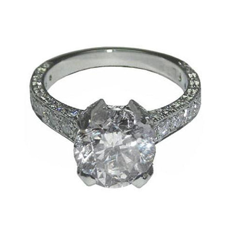 4.01 Ct. Round Brilliant Pave Diamond Antique Ring White Gold Ring