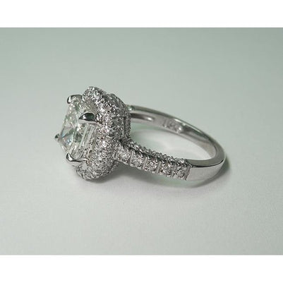 4.1Ct Sparkling Cushion Diamond Solitaire With Accents Ring Halo Ring