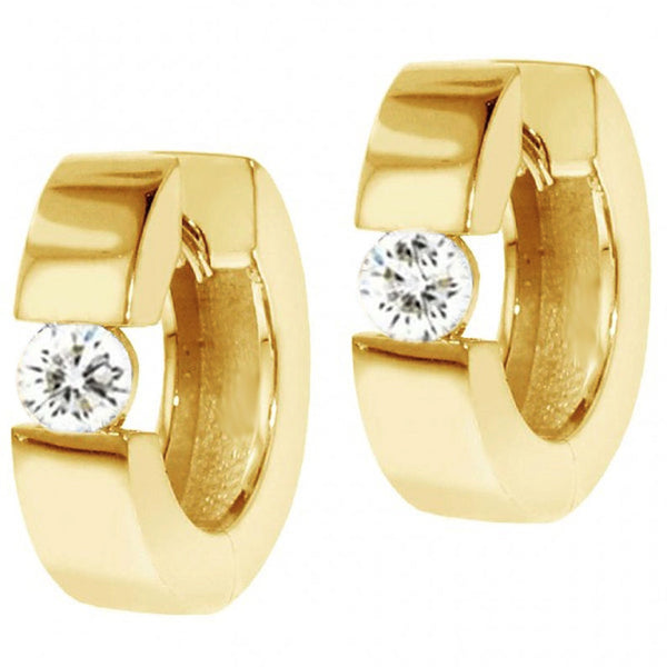 1 Carat Hinged Diamond Solitaire Hoop Earrings Huggies