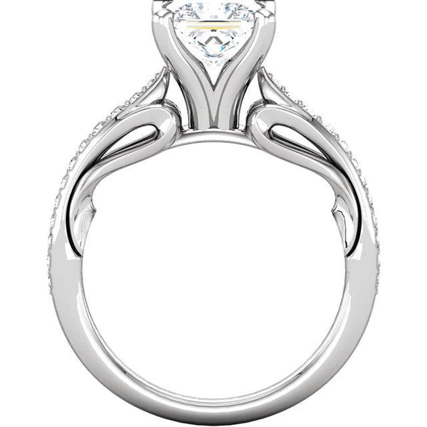 Solitaire Ring with Accents 1.79 Ct Princess Round Brilliant Diamonds Anniversary Ring