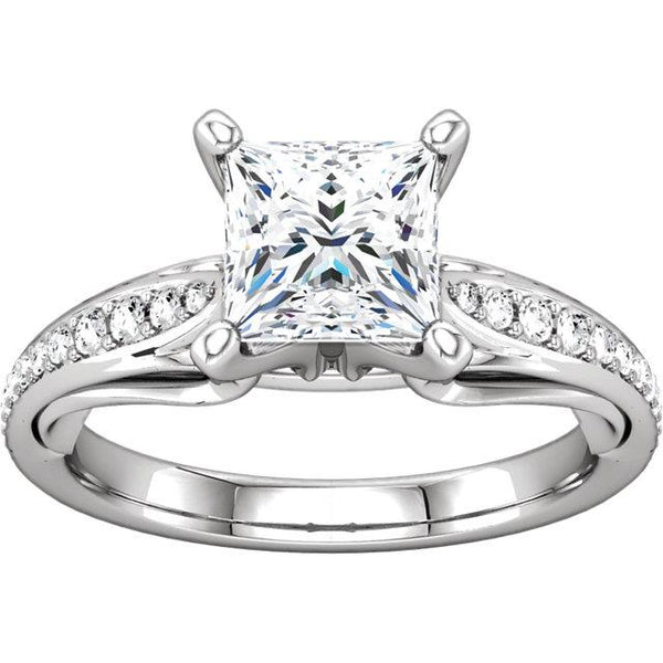 1.79 Ct Princess  Round Brilliant Diamonds Anniversary Ring Solitaire Ring with Accents
