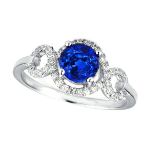 1.4 Ct Ceylon Sapphire Gemstone Round Cut Diamond Ring