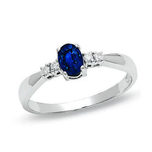 1.4 Ct Ceylon Sapphire With Diamond Five Stone Wedding Ring
