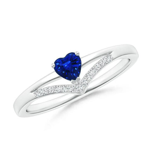 1.5 Ct Heart And Round Cut Ceylon Sapphire & Diamond Ring Gold