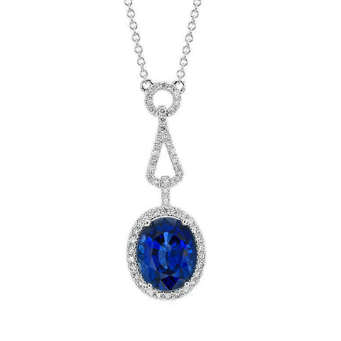 1.28 Ct Sri Lanka Sapphire Pendant Oval Round Diamond Jewelry