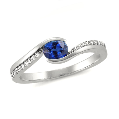 2 Ct  Oval Cut Sri Lanka Sapphire And Diamond Ring White Gold 14K