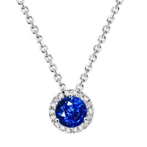 1.25 Ct Sri Lanka Sapphire Round Diamond Pendant 14K White Gold