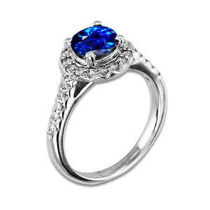 2.9 Ct Sri Lanka Blue Sapphire With Diamond Ring White Gold 14K