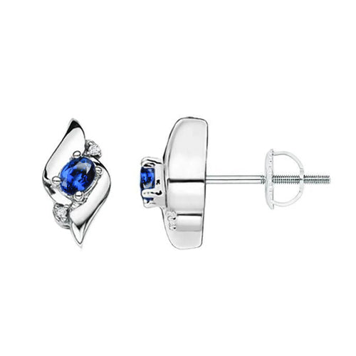 2 Ct Sri Lanka Blue Sapphire And Diamond Earrings White Gold 14K