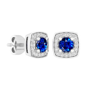 3.6 Ct Sri Lanka Sapphire Diamond Cluster Stud Earrings