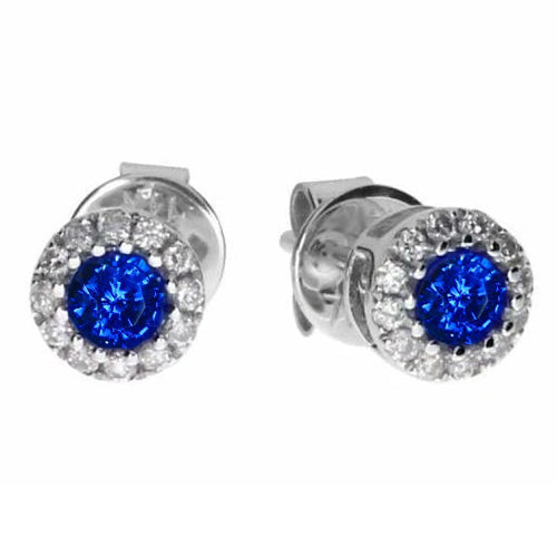 2.60 Ct Round Sapphire And Diamond Stud Earring White Gold 14K