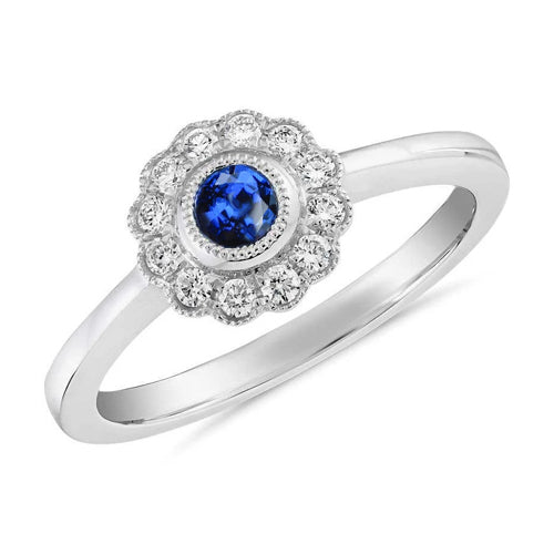 1.6 Ct Round Diamond And Sapphire Gemstone Ring 14K White Gold