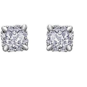 4.20 Carats Princess And Round Diamonds Studs Earrings White Gold Stud Earrings