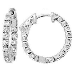 4.20 Ct Brilliant Cut Sparkling Diamonds Hoop Earrings White Gold Hoop Earrings