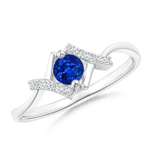 1.5 Ct Round Brilliant Cut Sapphire And Diamonds Ring 14K White Gold