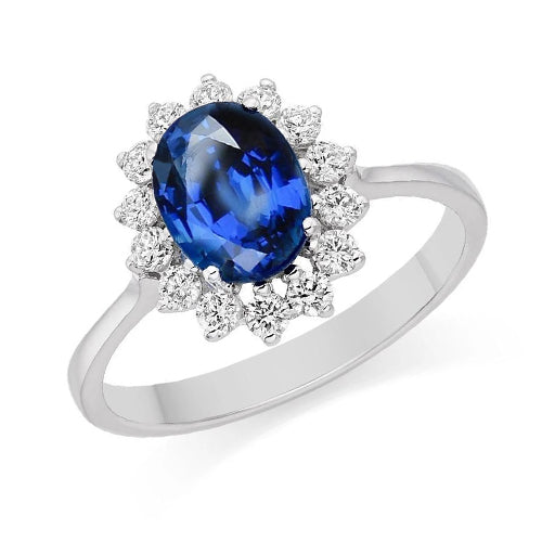 1.6 Ct Blue Oval Cut Sapphire And Round Diamond Wedding Ring