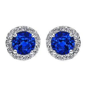 1.24 Ct Round Cut Halo Sapphire And Diamond Stud Earring White Gold 14K