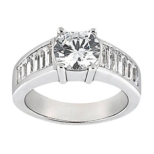 4.25 Carat Round Diamonds Engagement Ring Baguettes Diamond Ring Solitaire Ring with Accents
