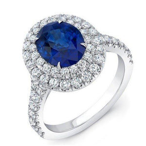 4.25 Carats Solitaire With Accent Sapphire Diamonds Ring White Gold Gemstone Ring