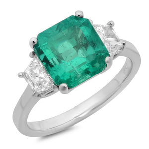 4.26 Carats Green Emerald Three Stone Ring White Gold 18K Jewelry New Gemstone Ring