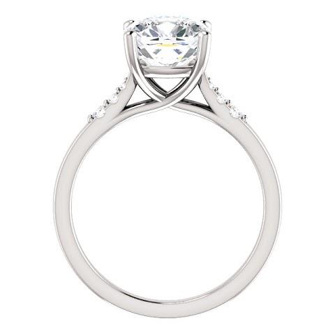Solitaire with accents cushion diamond engagement ring