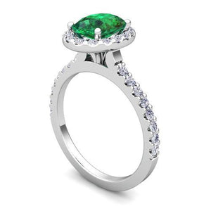 4.3 Ct Green Emerald And Diamond Ring Gemstone Ring