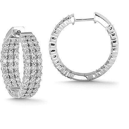 4.30 Carats In And Out 3 Row Diamonds Hoop Earrings White Gold 14K Hoop Earrings