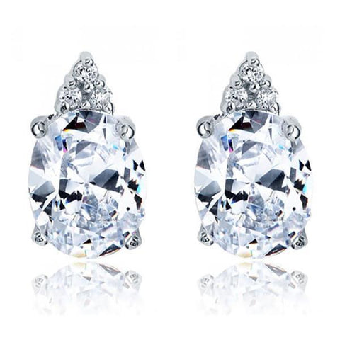 4.30 Carats Oval And Round Diamond Stud Earring White Gold 14K Stud Earrings