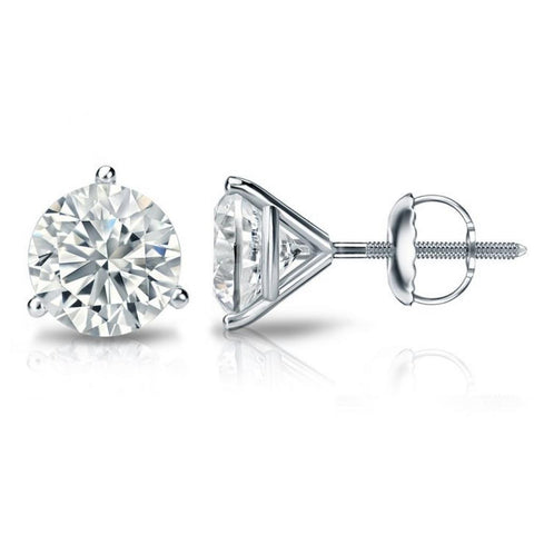 4.30 Ct Three Prong Set Diamonds Women Studs Earring White Gold 14K Stud Earrings