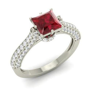 4.35 Carats Princess Cut Ruby With Round Diamonds Ring White Gold Gemstone Ring