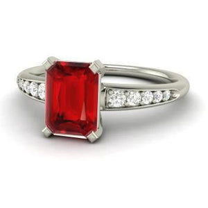 4.35 Carats Red Ruby And Diamonds Ring White Gold 14K Gemstone Ring