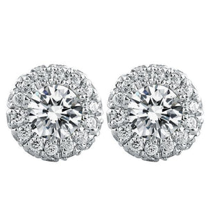 4.40 Carats Round Halo Diamond Stud Lady Earring White Gold Jewelry Halo Stud Earrings
