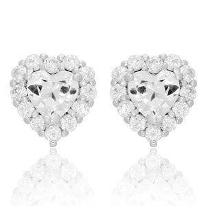 4.40 Ct Sparkling Round And Heart Cut Diamonds Halo Stud Earrings White Halo Stud Earrings